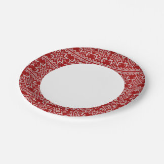 Red Knitted Stars Paper Plate