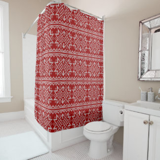 Red Knitted Stars Shower Curtain