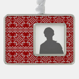 Red Knitted Stars Silver Plated Framed Ornament