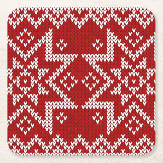 Red Knitted Stars Square Paper Coaster
