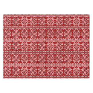 Red Knitted Stars Tablecloth