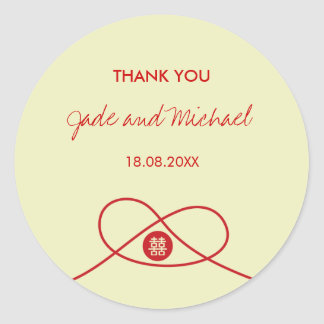 Red Knot Double Happiness Chinese Wedding Sticker