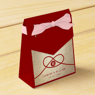 Red Knot Double Happiness Gold Wedding Favor Box Wedding Favour Box
