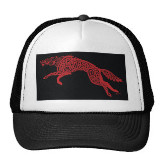 Red Knotwork Wolf on Black Cap