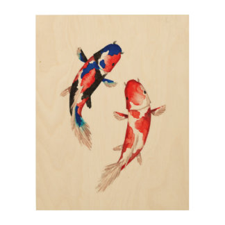 Red Koi Fish Wood Canvases