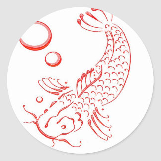 Red Koi modern design Round Sticker