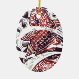 Red Koi Tattoo Design Christmas Ornament