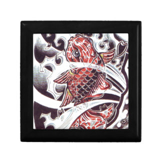 Red Koi Tattoo Design Small Square Gift Box