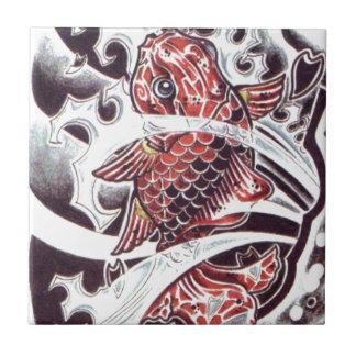 Red Koi Tattoo Design Small Square Tile