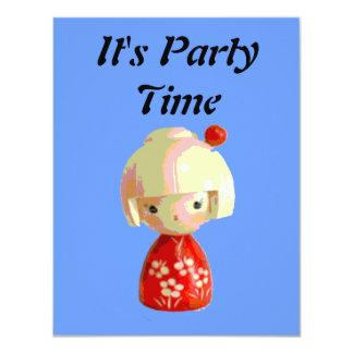Red Kokeshi 4.25x5.5 Paper Invitation Card
