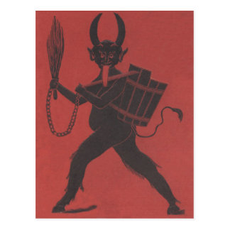 Red Krampus Basket Switch Chain Tongue Postcard