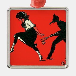 Red Krampus Chasing Woman Apples Silver-Colored Square Decoration