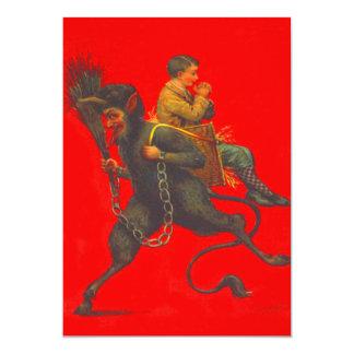 Red Krampus Kidnapping Praying Boy 13 Cm X 18 Cm Invitation Card
