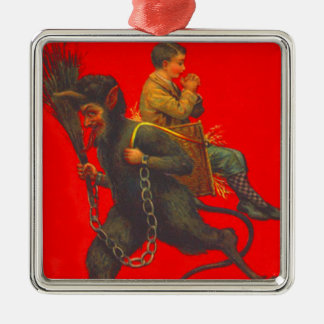 Red Krampus Kidnapping Praying Boy Silver-Colored Square Decoration