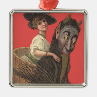 Red Krampus Kidnapping Woman Switch Silver-Colored Square Decoration