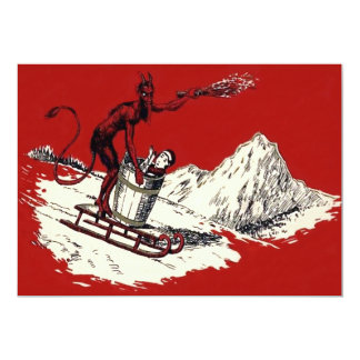 Red Krampus Sleigh Mountain Switch Kidnapped 13 Cm X 18 Cm Invitation Card