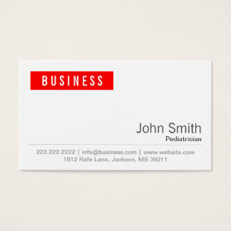 Red Label Pediatrician Business Card