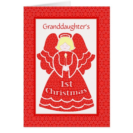 Red Lace 1st Christmas Angel for Granddaughter Greeting Card