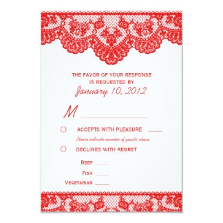 Red Lace and White RSVP with Meal Options 9 Cm X 13 Cm Invitation Card