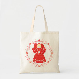 Red Lace Angel Canvas Bags