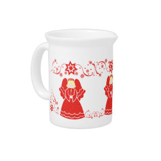 Red Lace Angel Christmas Beverage Pitchers
