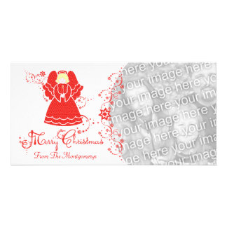 Red Lace Angel Christmas Personalized Photo Card
