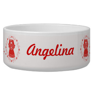 Red Lace Angels Pet Food Bowls