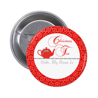 Red Lace Christmas Tea Name 6 Cm Round Badge