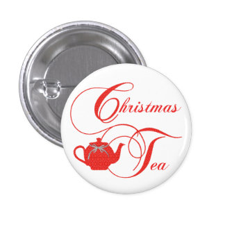 Red Lace Christmas Tea Party 3 Cm Round Badge