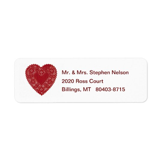 Red Lace Doily Heart Return Address Label