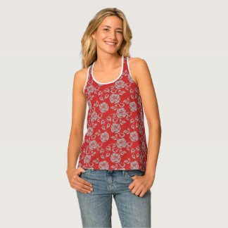 Red Lace on Roses Tank Top
