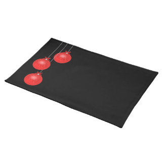 Red Lace Ornaments on Black Placemat