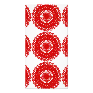 Red Lace Pattern Design. Photo Card Template