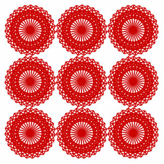 Red Lace Pattern Design. Photo Sculpture Badge