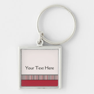 Red Lace Rounds Pattern With Border Key Ring