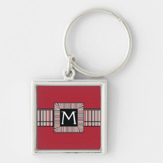 Red Lace Rounds Pattern With Initial Key Ring