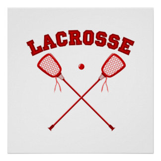 Red Lacrosse Logo Poster