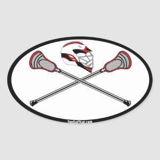 Red Lacrosse Sticks and Helmet Stickers