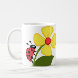 Red Lady Beetle on a Yellow Flower Coffee Mug