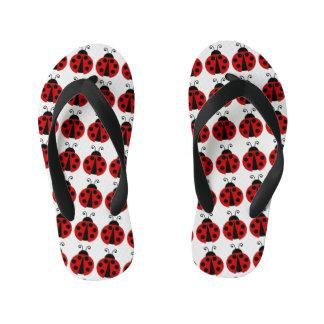 Red Lady Bugs Flip Flops