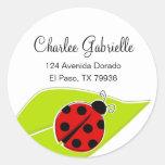 Red Ladybug Address Labels Round Sticker