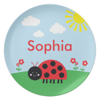 Red Ladybug and Flowers Personalized Plate