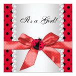 Red Ladybug Baby Girl Shower Custom Invitation
