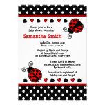 Red Ladybug Baby Shower Black and White Polka Dots Custom Invites