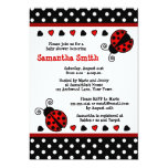 """Red Ladybug Baby Shower Black and White Polka Dots 5"""" X 7"""" Invitation Card"""