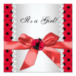 Red Ladybug Baby Shower 13 Cm X 13 Cm Square Invitation Card