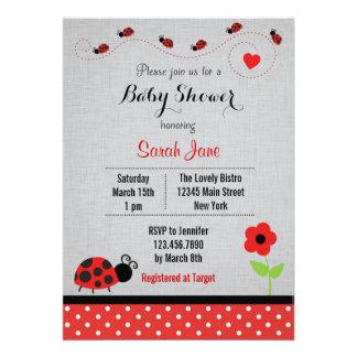 Red Ladybug Baby Shower Invitation Polkadot