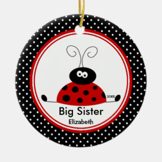 Red Ladybug Big Sister Christmas Ornament