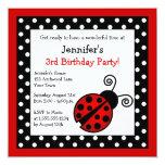 Red Ladybug Birthday - Black and White Polka Dots 13 Cm X 13 Cm Square Invitation Card
