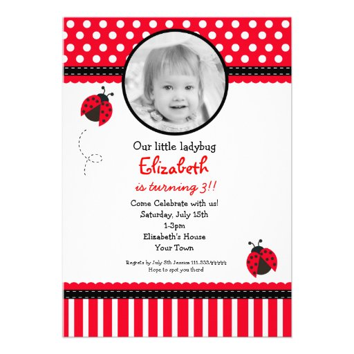 Red Ladybug Birthday Invitation